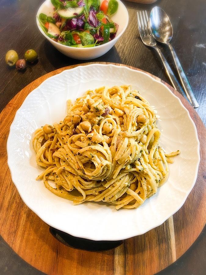Spaghetti mit veganer Carbonara