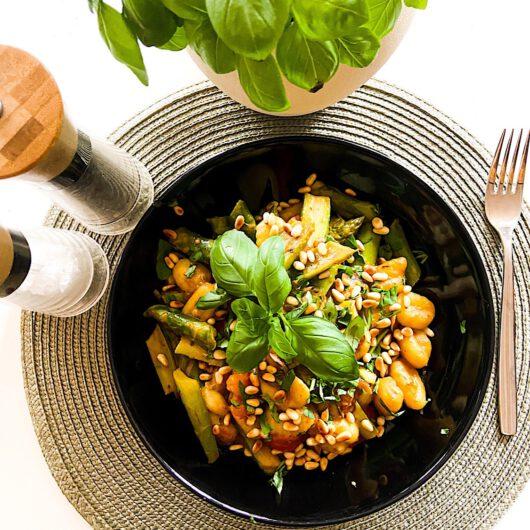 Cremige Gnocchis mit grünem Spargel